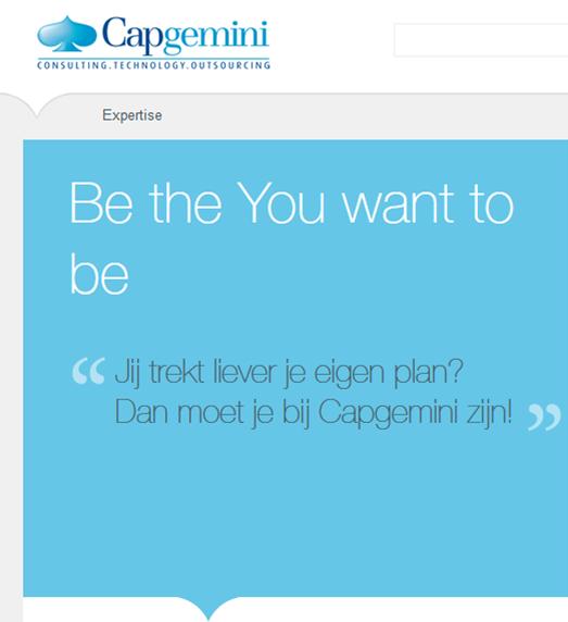 Screenshot van de website van Capgemini: 'Be the You want to be'...