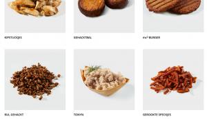 Enkele producten van de vegetarische slager op hun website. © De Vegetarische Slager
