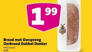 """Te koop bij Jumbo: """"Oerbrood Dubbel Donker, Brood met Oorsprong."""""""