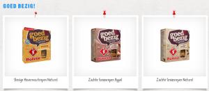 Enkele Goed-Bezig!-repen van Bolletje: de 'Stevige Havermoutrepen Naturel', de 'Zachte Graanrepen Appel' en de Zachte Graanrepen Naturel'.