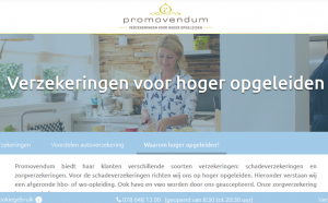 De website van Promovendum. In het aanbod alleen 'Verzekeringen voor hoger opgeleiden'.