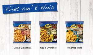 Een deel van het frietassortiment van Aviko met Oma's Smulfriet en Opa's Ovenfriet.