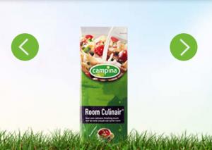 Campina Room Culinair. Screenschot van de website van Campina.