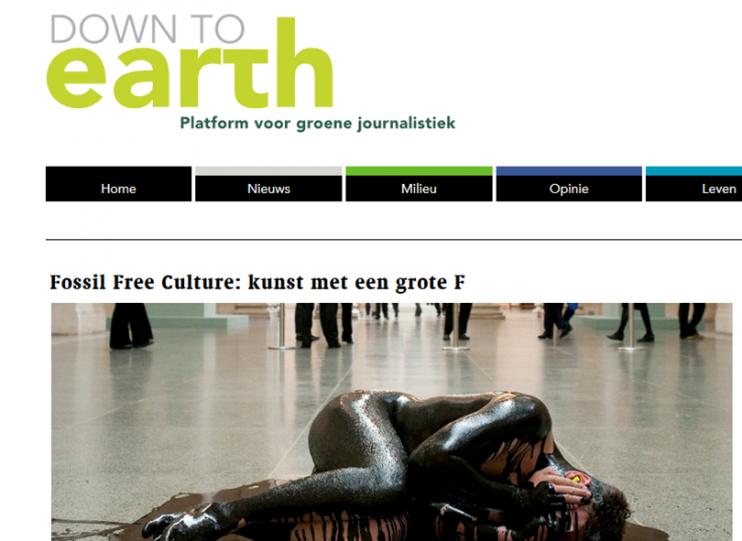 De website van Down to earth, platform voor groene journalistiek.