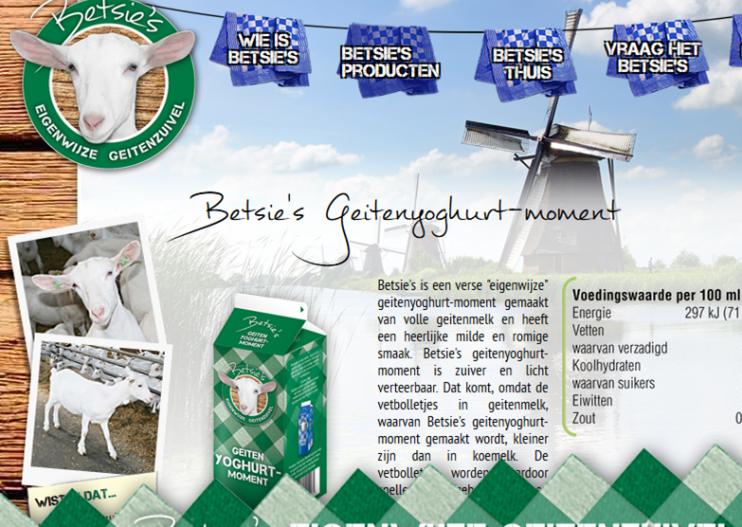 De website van Betsie's Geitenyoghurt-moment.