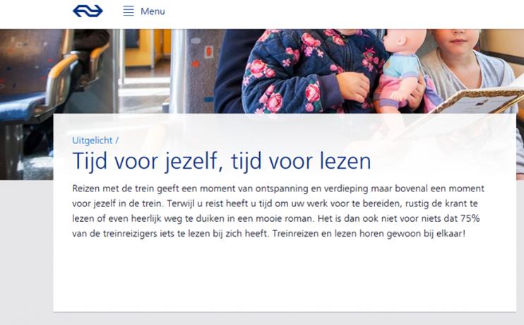 """Bij NS koop je méér dan een treinkaartje, namelijk """"Tijd voor jezelf, tijd voor lezen"""". (Screenshot van de website van NS.)"""