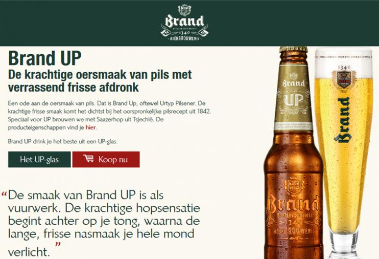 Brand Up: 'Een ode aan de oersmaak van pils.' Screenshot van de website van Brand.