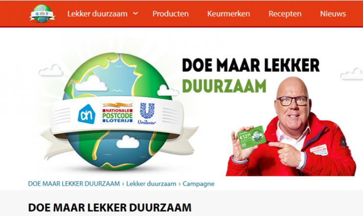Screenshot van de website doemaarlekkerduurzaam.postcodeloterij.nl