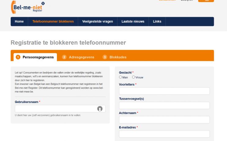 Screenshot van registratiepagina van het Bel-me-niet-register