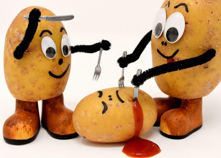 kannibalen aardappels bestek bloed