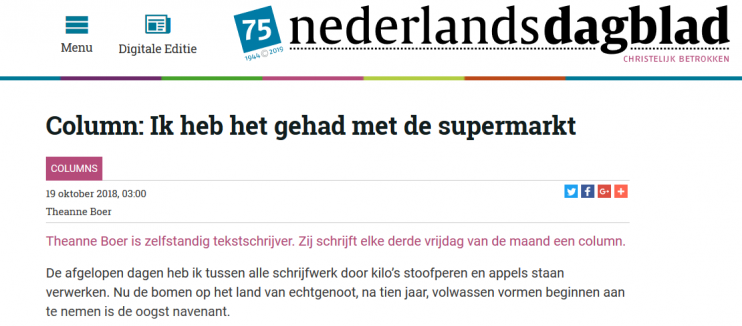 Nederlands Dagblad Theanne Boer column De Supermarktsurvivalgids