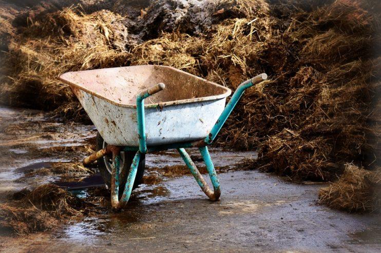 boer landbouw mest kruiwagen