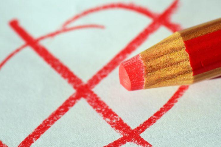 stemmen rood potlood