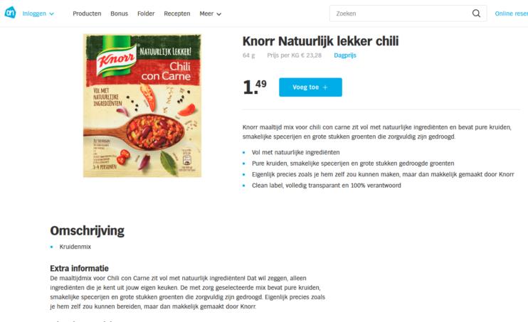 Knorr Natuurlijk Lekker Chili con Carne screenshot ah